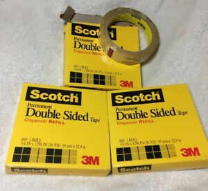 3 Scotch Double Sided Tape Dispenser Refill 665 3 4 X 1296 36 Yd 3m New