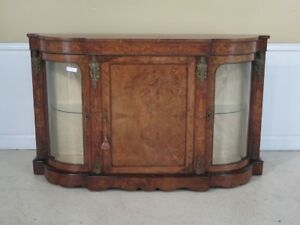 F42784ec Antique French Rosewood Credenza With Bowed Glass