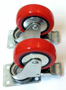 Lot Of 4 Heavy Duty 4 Caster All Swivel Plate Red Polyurethane With Brakes