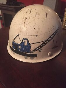 Vintage Msa Skullgard Hard Hat With Hand Painted Crane