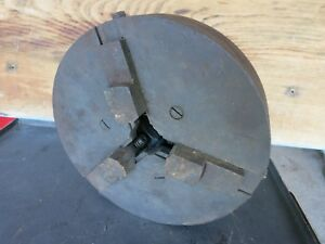 Vintage Heavy Metal Lathe Three Jaw Chuck Old Cast Iron Machine Age Parts