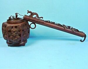 Antique Japanese Meiji Period Bronze Yatate Calligraphy Brush Holder
