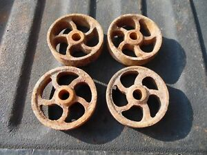 Vintage antique cast iron set of 4 wheels railroad cart wagon hit miss engine