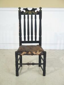 F42820 Antique 18th Century William Mary Rush Seat Side Chair