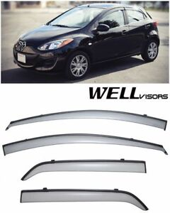 Wellvisors For 11 15 Mazda 2 Hatchback Black Trim Side Window Visors Rain Guard