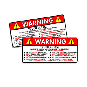 Truck Rules Warning Safety Instruction 4x4 Off Road Funny Sticker Decal 2 Pk 5