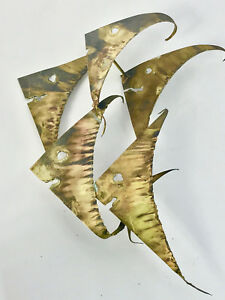 Mid Century Modern Metal Abstract Brutalist Wall Art Bronze Fish Signed 1972