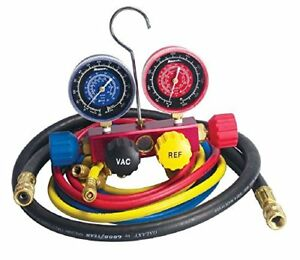 Robinair 42266 Aluminum 4 way Manifold Gauge Set With Hoses For R 12 R 22 And