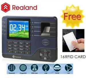 3 2 Lcd Realand Usb Biometric Fingerprint Time Attendance Clock Tcp ip 12 Card