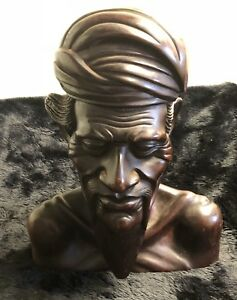 Beautiful Hand Carved Balinese Wood Bust Of Older Indigenous Man With Beard