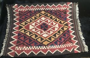 Early 20th Cent Hand Woven Dyed Turkish Esme Kilim Saddle Blanket