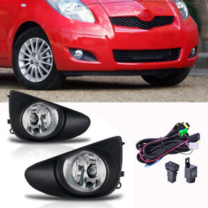 Pair Front Clear Fog Lights Wiring Harnes For Toyota Yaris Sedan 4d 2007 2012