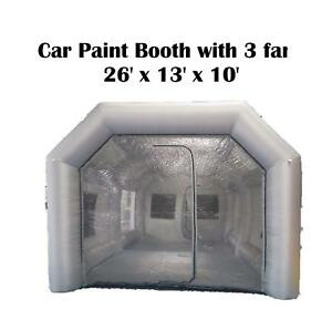 26lx13wx10h Mobile Portable Inflatable Car Spray Paint Booth Tent 3 Fans Filters