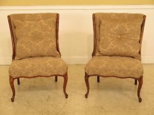 F45434ec Pair French Style Damask Upholstered Occasional Chairs