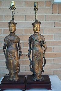 Two Vintage Old Asian Chinese Goddess Figural Lamps Cast Iron