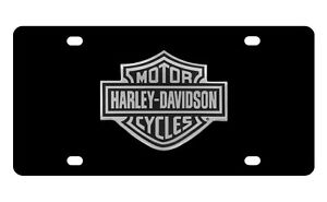 Harley Davidson Black Vanity Front License Plate Black Silver Bar Shield