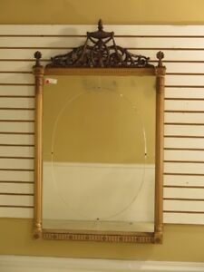 F28287c Adam Style Carved Wood Framed Etched Mirror