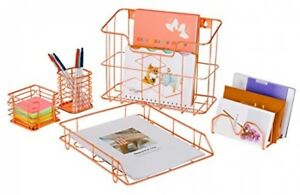 Pag Rose Gold Office Supplies 5 In 1 Desk Organizer Set Hanging File File And