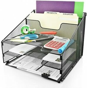 Desk Organizer File Folder Holder All in one With Non slip Rubber Feet By Desk