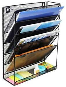 Mesh Wall Mounted File Holder Organizer Literature Rack 6 Compartments Black