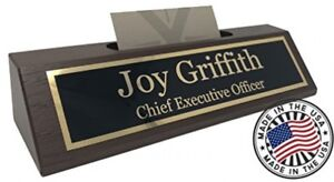 Personalized Business Desk Name Plate With Card Holder Made In Usa walnut