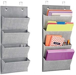Mdesign Over The Cubical Wall Mounting Hanging Fabric Office Supplies Storage 4