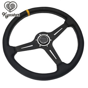 15inch Racing Steering Wheel 380mm Black Leather Classic Horn Aluminum Frame New