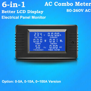 Ac 80v 260v 6 in 1 Lcd Ac Combo Meter Voltage Current Amp Kwh Watt Power Monitor