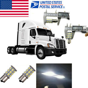 2x White Interior 1109 1156 Led Sleeper Cab Light Bulb For Freightliner Cascadia