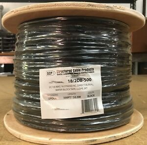 Structured Cable Spool Black 500 Ft Direct Burial 2 Wire 18 Gauge
