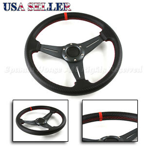 For Chevy 3 spoke Cf Gunmetal Red Stitched 320mm 6 hole Track Steering Wheel