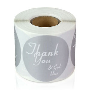 Circle God Bless You Stickers Pray Amen Labels 2 Round 10 Rolls Silver