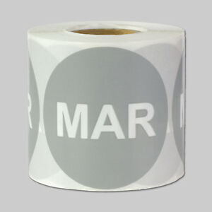March Months Year Stickers Schedule Date Calendar Monthly Labels 10 Rolls