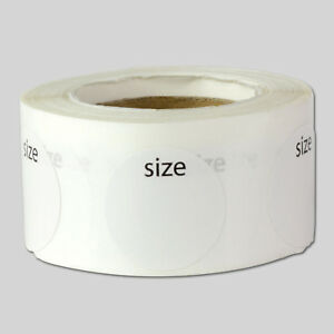 Blank Clothing Size Labels Round Adhesive Stickers For Retail Apparel 10 Rolls