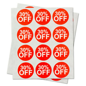 30 Off Retail Garage Sale Stickers Clearance Discount Percent Labels 10 Rolls