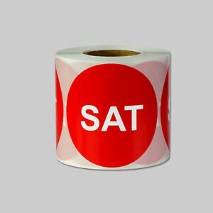 Saturday Days Of The Week Stickers Date Calendar Schedule Labels 2 Round Red