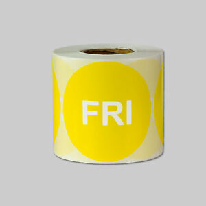 Friday Days Of The Week Stickers Date Calendar Schedule Labels 2 Round Yellow