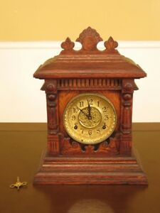 F45498ec Antique Victorian Oak Mantle Clock Age Approx 120 Years Old