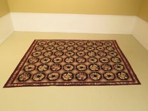 Lf30190ec Vintage Approx 9 X 12 Hand Done Needlepoint Room Size Rug