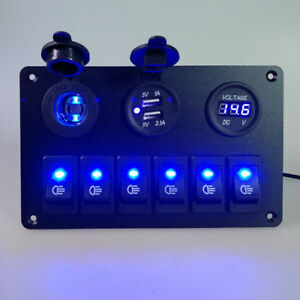 Car Marine Boat 6 Gang Waterproof Circuit Blue Led Rocker Switch Panel Breaker F