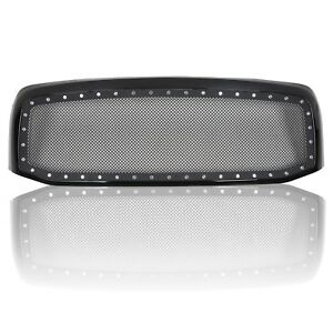 For 2006 08 Dodge Ram 1500 2500 3500 Black Rivet Style Ss Wire Mesh Grille shell