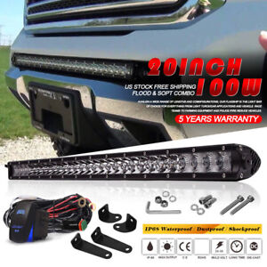 20inch 100w Single Row Led Light Bar Spot Flood Combo Gmc Ute Atv 22