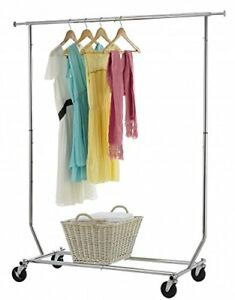 250 Lb Heavy Duty Commercial Grade Clothing Garment Rolling Collapsible Rack