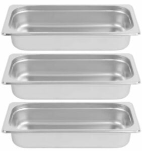 Inserts Only 3 Pack 1 3 Size Stainless Steel 2 1 2 Deep Chafing Dish Chafer Pan