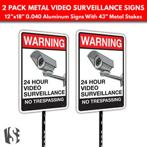 Warning Video Surveillance No Trespassing Metal Security Signs W Stakes 2 pack