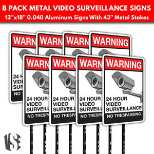 Warning Video Surveillance No Trespassing Metal Security Signs W Stakes 8 pack