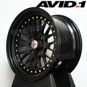 Avid 1 Av 12 15x8 4x100 25 Black Mesh 2 Step Lip Gold Rivets Tuner 4 Wheel Set