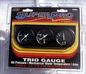 Super Pro 5095 Triple Gauge Set New Oil Water Amp 1 And 1 2 Inch Gauges