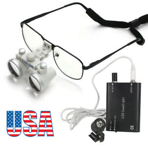 Metal Frame Dental Loupes 3 5x 420mm Surgical Binocular Medica Headlight Lamp