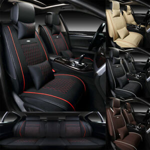 Us Universal 5 seat Car Auto Leather Seat Covers Cushion Front rear free Pillows